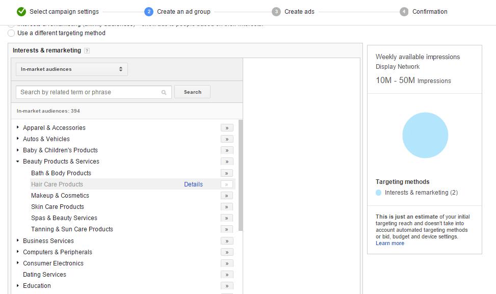 Google Display Network tips for interest- based targeting method